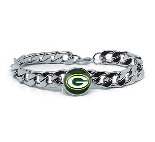 Devastating Designs Green Bay Packers Men's Women's Silver Stainless Steel Link Chain Bracelet Football Gift