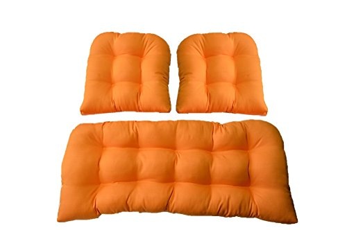 3 Piece Wicker Cushion Set - Indoor / Outdoor Woven Twill Mojo Creamsicle Orange Fabric Cushion for Wicker Loveseat Settee & 2 Matching Chair Cushions 2 Piece Settee
