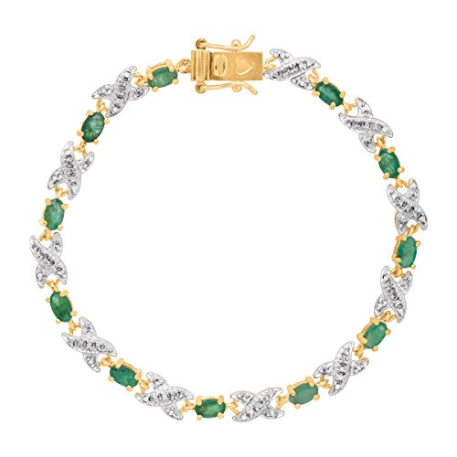 2 3/8 ct Natural Emerald Xo TennisBracelet with Diamond in 10K Gold-Plated Sterling - Emerald Jewelry Diamond