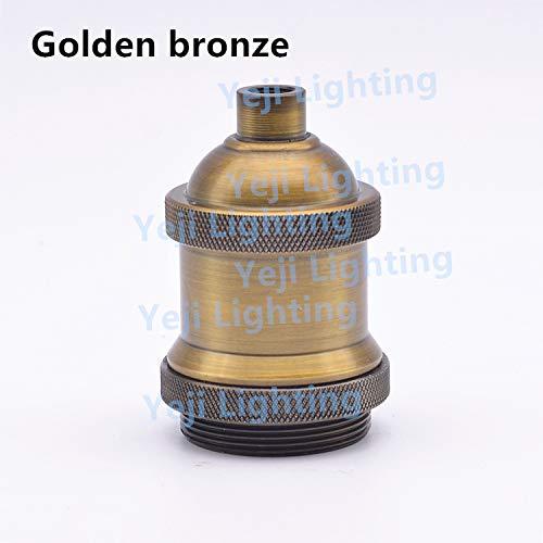 (Kamas antique vintage retro plated e26 e27 socket lamp cup lamp base holder for chandeliers led pendant lights bronze color - (Color: gold bronze, Base Type: E27))