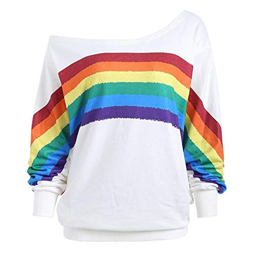 (HGWXX7 Women's Sweatshirt Casual Plus Size Loose Rainbow Print Off Shoulder Long Sleeve Pullover Tops Blouse(XL,White))