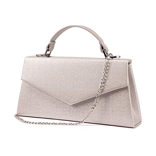 (LOVEVOOK Clutch Purse Handbags for Women Envelope Evening Bag Flap Glitter with Chain for Wedding Party Cocktail Revel Pearl Khaki)