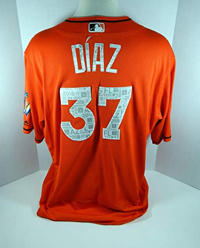 2018 Miami Marlins Jumbo Diaz #37 Game Issued Orange Spring Training Jersey - Game Used MLB Bats