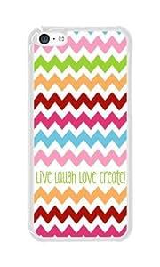 iPhone 5C Case Color Works Live Laugh Love Create Transparent PC Hard Case For Apple iPhone 5C Phone Case