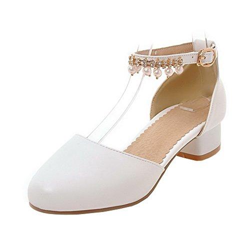 Donna Buckle Flats EuD76 AgeeMi Basso Tacco Ballet Blanc Shoes PU da EqOOUxtwR