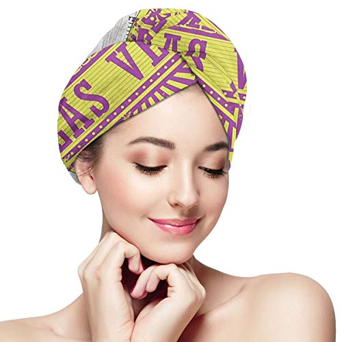 DemarLOO Microfiber Dry Hair Cap For Bath Spa Soft Towel,Super Absorbent Quick Drying Towel Wrap,Turbans For Wet Hair- Las_Vegas_Nevada