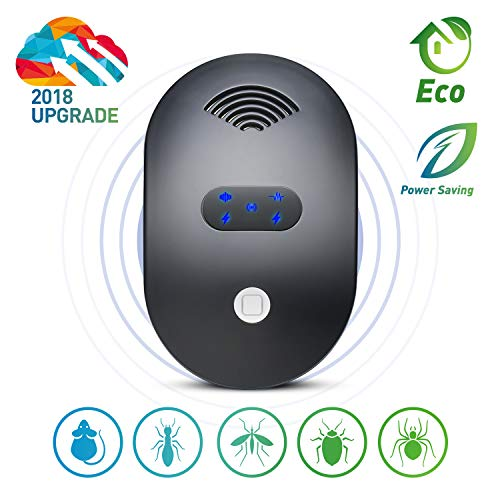 Ultrasonic Pest Repeller, 2018 Newest Electronic Mice &Ant Repellent Plug in Indoor Pest Control Electromagnetic Pest Repellent to Repel Rat,Mosquito,Roach,Ant,Fly,Spider, Rodent-No Trap,Sprayer&Baits