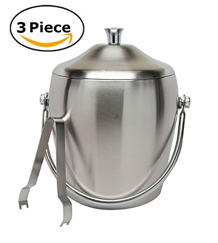 Elegant Stainless Steel Double Walled Ice Bucket Cocktail Set with Lid Tongs Set Bar Accessory Set 7.5 Inch Parties Kitchen Storage Party Supplies Accessories by Xena