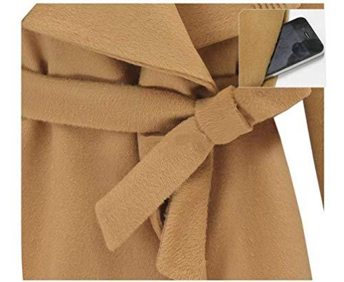 Huixin Modernas Kamel Mujer Abrigo Elegantes Fashion De Lana Color Largo Cinturón Sólido Vintage Casuales Día Outerwear Manga Invierno Otoño Con Chaqueta Transición Largos rBprOqExw