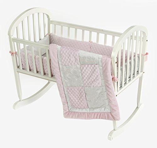 Baby Doll Bedding  Croco Minky Cradle Bedding Set, Pink/Ivory