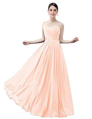 Aprikosen LuckyShe Lang Elegant Trägerlos Damen Kleider Chiffon Maxi Brautjungfernkleider zUUFq
