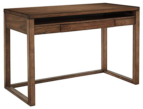 Ashley Furniture Signature Design – Baybrin Small Home Office Desk – Open Shelf – Drop-Down Keyboard Tray – Contemporary – Rustic Brown Finish Review