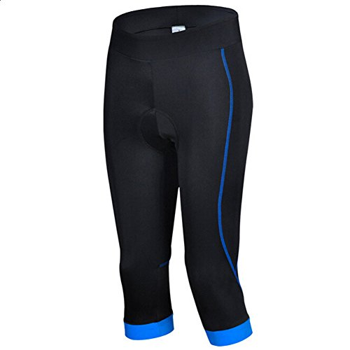 Cheji Damen Fahrradhose Capri-Hosen Atmungsaktiv Quick-Dry mit Sitzpolster Radlerhose (Blau, Tag L:EU M)