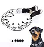 Pettycart Dog Prong Collar, Durable Stainless Steel Dog Pinch Training Collars for Medium Large Large Dogs (XL-23.6', Black)
