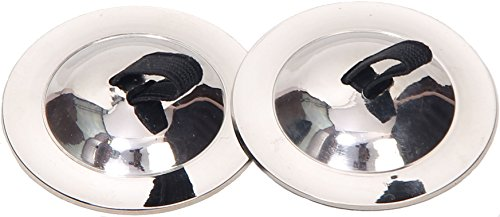 Wevez 2 Pairs of Plain Finger Cymbals/Zills for Belly Dance (Silver)]()