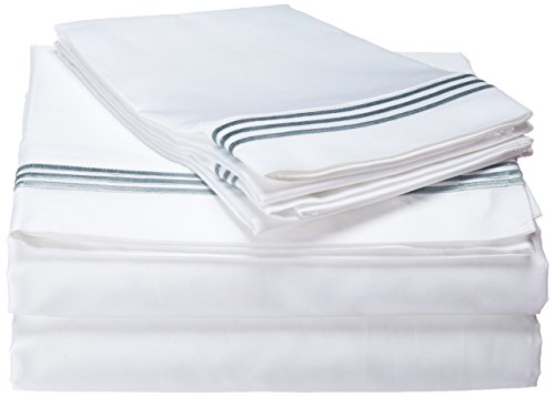 Echelon Home Three Line Hotel Collection Sheet Set, California King, Silver Blue