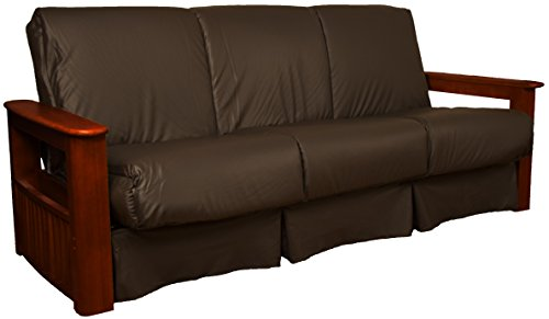 Chicago Storage Arm Style Perfect Sit & Sleep Pocketed Coil Inner Spring Pillow Top Sofa Sleeper Bed, Queen-size, Mahogany Arm Finish, Leather Look Brown Upholstery