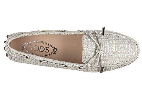 Tod's mocassins femme en daim heaven laccetto occhielli argent