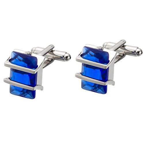 Da.Wa Elegant Blue Crystal Square Cuff Links Men's Business Wedding Shirt Cufflinks Accessories by Da.Wa (Image #1)
