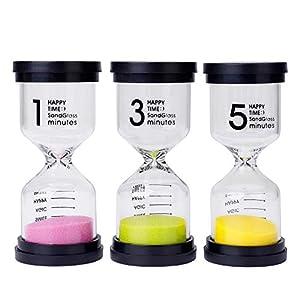 Reloj de Arena 3 Colores Temporizador de Arena 1/3/5 Mins para Niños Juegos de Cocina de Aula de Oficina de Decoración 3 Piezas 12