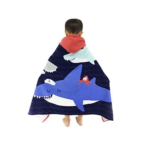 Towel Hooded Plus - HOMAGIC2WE Children Hooded Towel Cotton Beach Towels Poncho Swim Bath Robe Shark