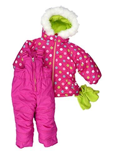 Hawke Co Infant Girl 3PC Pink Dot Hooded Ski Coat Snow Bi...