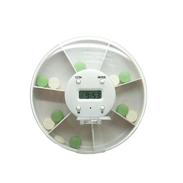 Pixnor - Pastillero electrónico y automático, con alarma recordatorio, dispensador de pastillas 4