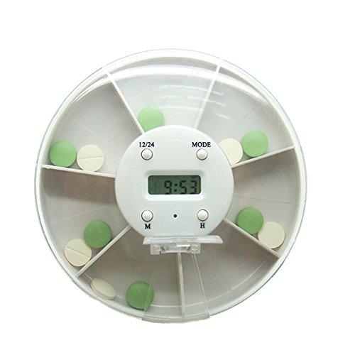 OUNONA Dispensador electrónico automático de la píldora 7-Compartimiento alarma temporizador pastillero organizador cuadro recordatorio (blanco): Amazon.es: ...
