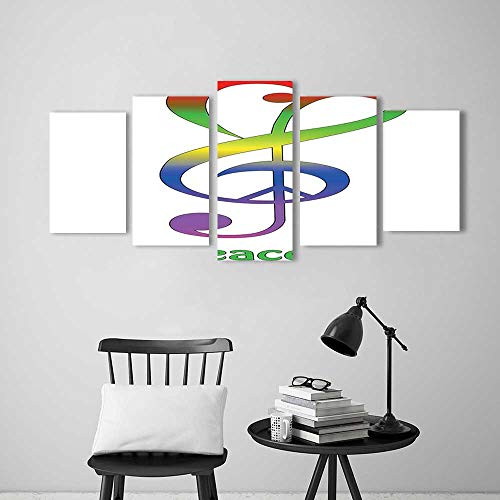 Wall Art for Living Room Decor 5 Piece Set Frameless Collection Love Peace and Music Clef Musical Notes Bass Old Sign Slogan Live for Home Modern Decoration Print Decor