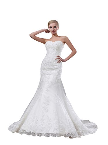 Trumpet/Mermaid Strapless Chapel Train Lace Wedding Dress (White) - 6