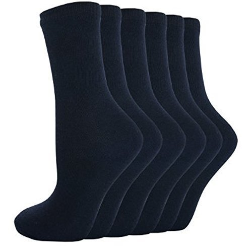 12 Pares infantil Botines cortos de Algodón Liso Calcetines Escolares R1 - Azul Marino, 4 - 5.5