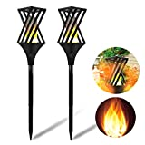 UK BONITOYS Solar Torch Lights Outdoor, 32.5 inch Waterproof Flicker Flame Torches Light Outdoor Landscape Decor Dusk to Dawn Auto On/Off Security Path Lights for Yard Driveway - 2 Pack