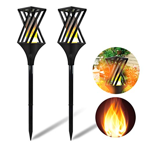UK BONITOYS Solar Torch Lights Outdoor, 32.5 inch Waterproof Flicker Flame Torches Light Outdoor Landscape Decor Dusk to Dawn Auto On/Off Security Path Lights for Yard Driveway - 2 Pack -