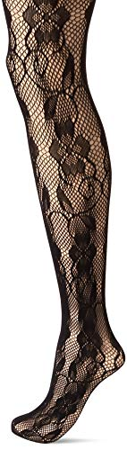 Hanes Silk Reflections Women's Plus Size Curves Fashion lace Tights, black - Rose Pantyhose