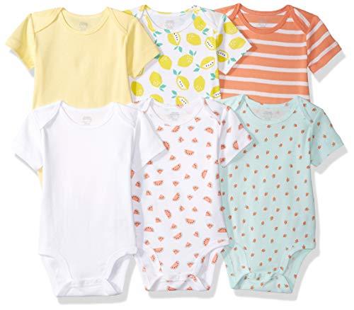 (Amazon Essentials Baby 6-Pack Short-Sleeve Bodysuit, Girl Fruit, 18M)