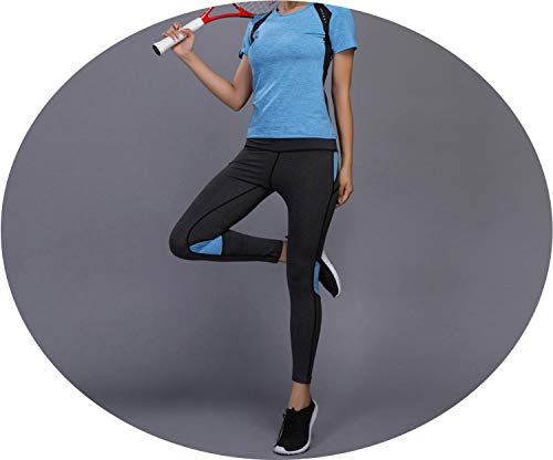 - happy-Adultparadise Women Yoga Set Gym Fitness Clothes Tennis Shirt+Pants Running Tight Jogging Workout Yoga Leggings,Blue,XL