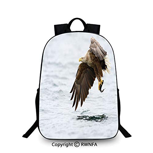 3D printing Customized school bag,Bird with Feathers on Head and Tail Catching a Fish Hunting Animal Food Chain Travel College School Bags Pearl Brown Yellow