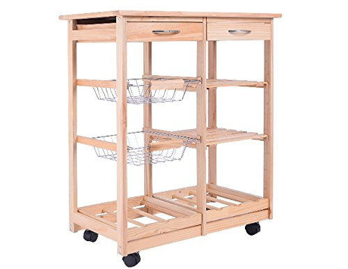 New Rolling Wood Kitchen Trolley Cart Dining Storage Drawers Stand Durable Ship from USA
