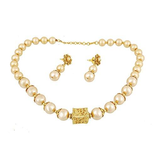 Golden Freshwater Pearl Necklace (Fasherati Traditional Golden Fresh Water Pearl Necklace Set For Women)