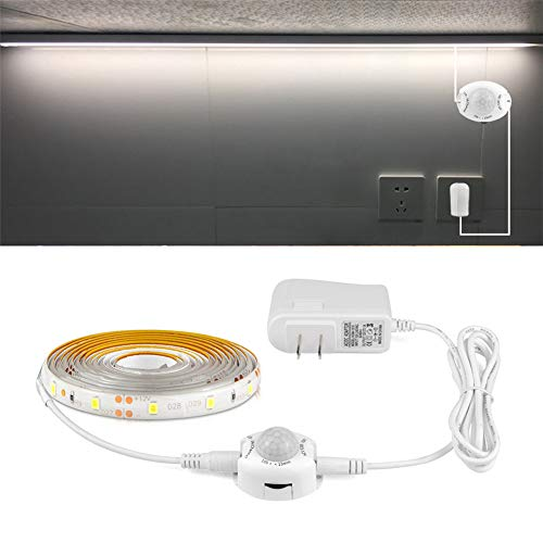 (LED Bed Lights Motion, LED Strip Lights Dusk to Dawn, AIMENGTE 1M 2M 3M 4M 5M LED Cabinet Light Motion Activated, Tape Night Sensor Lamp with 110V-220V to 12V Power Adapter. (White, 2M) )
