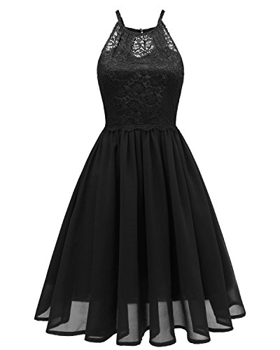 A-line Black Chiffon Halter - Sunvary Prom Cocktail Dresses Short Lace Chiffon Bridesmaid Open Back Dress for 2018 Graduation Daily Summer Wear-XL-Black