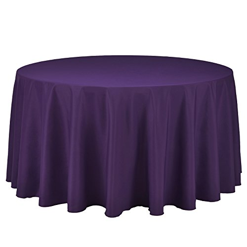 VEEYOO Round Tablecloth 120 inch - Solid Polyester Circular Table Cover for Wedding Party Bridal Shower Restaurant Kitchen Dinner, Purple Table Cloth