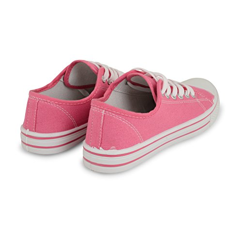 LADIES FLAT CANVAS PLIMSOLE VINTAGE PUMPS SNEAKERS LACE UP INDIE WOMENS TRAINERS Hot Pink NOg9jBUe