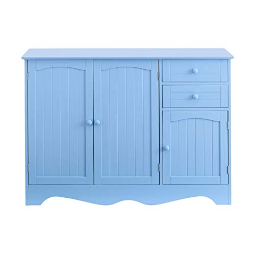 (BrylaneHome Cottage Kitchen Buffet Cabinet - Light Blue)