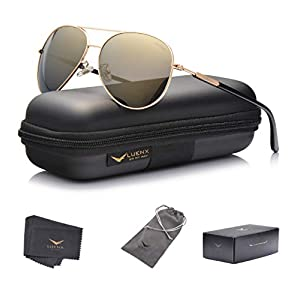 LUENX Aviator Sunglasses for Womens Polarized Mirror with Case – UV 400 Protection 60MM