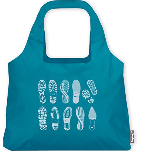 Special Edition Footprint ChicoBag - Earth-Friendly, Reusable and Collapsable Tote Perfect for Shopping, Travel and Throwing in a Bag or Purse (Lake Blue)