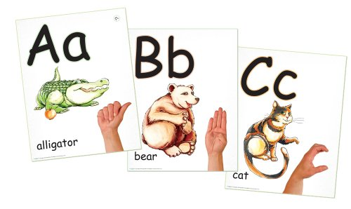 ABC Phonics: Sing, Sign, and Read! - A-Z Alphabet plus ASL Signs - 26 Wall Poster Set