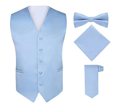 S.H. Churchill & Co. Men's 4 Piece Vest Set, with Bow Tie, Neck Tie & Pocket Hankie - Light Blue, XL (Wear Formal Vests)