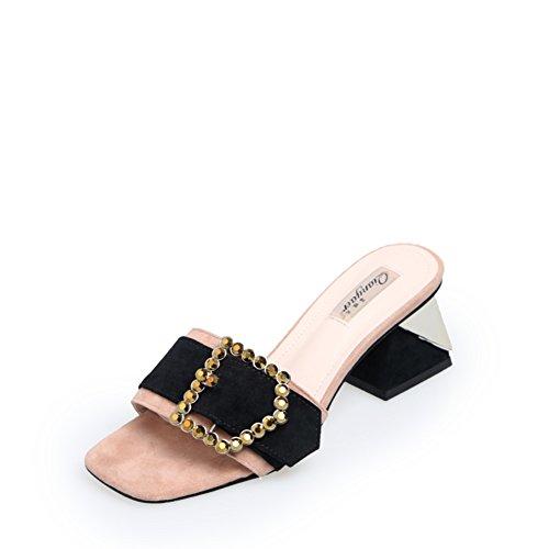zapatillas verano De Cuadrada Tacón abierta Dedo zapatillas Señora Del B botón Tacones cabeza Pie Grueso fCqnPnxw