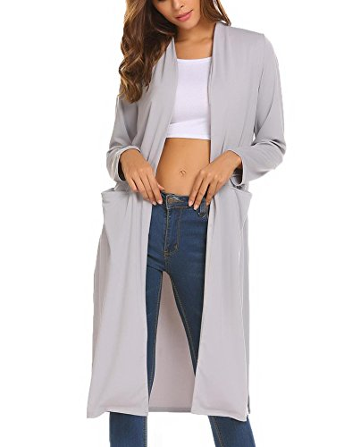 OD'lover Women's Open Front Long Trench Coat Casual Lightweight Blazer Cardigans by OD'lover (Image #2)